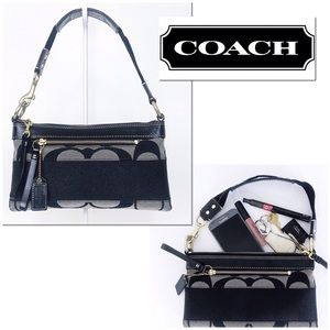 Coach Signature Stripe Jacquard & Leather Demi Bag